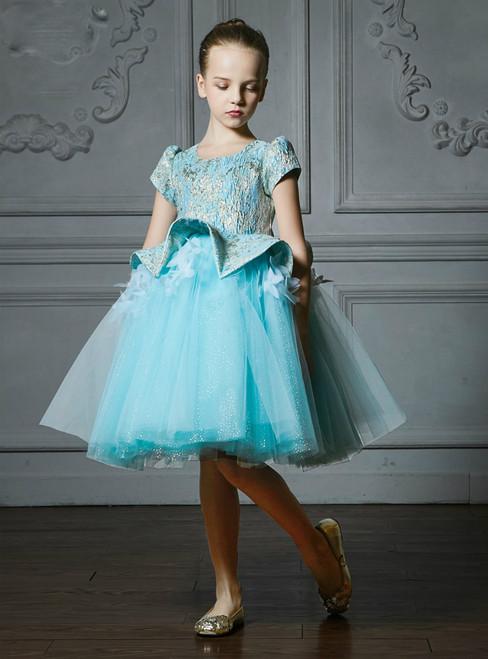 In Stock:Ship in 48 Hours Blue Tulle Cap Sleeve Flower Girl Dress