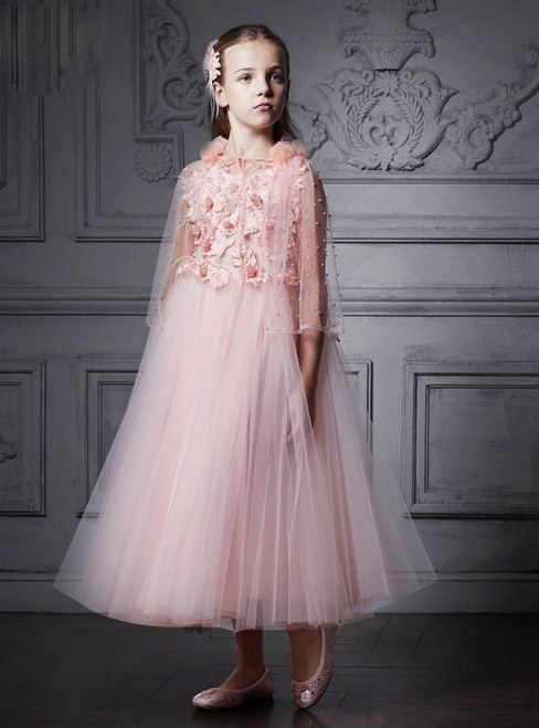 In Stock:Ship in 48 Hours Pink Tulle Appliques Tea Length Girl Dress