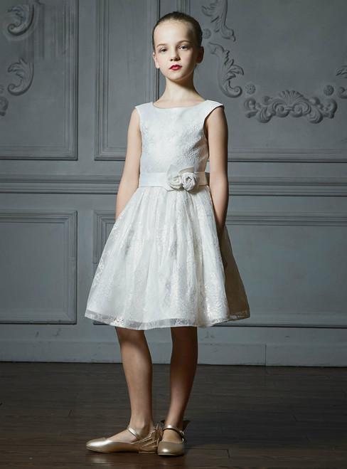 In Stock:Ship in 48 Hours White Lace Knee Length Flower Girl Dress