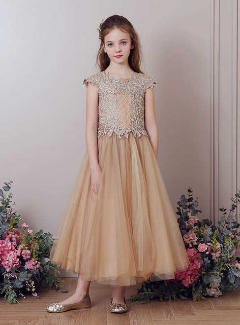 In Stock:Ship in 48 Hours Champagne Tulle Appliques Ankle Length Girl Dress