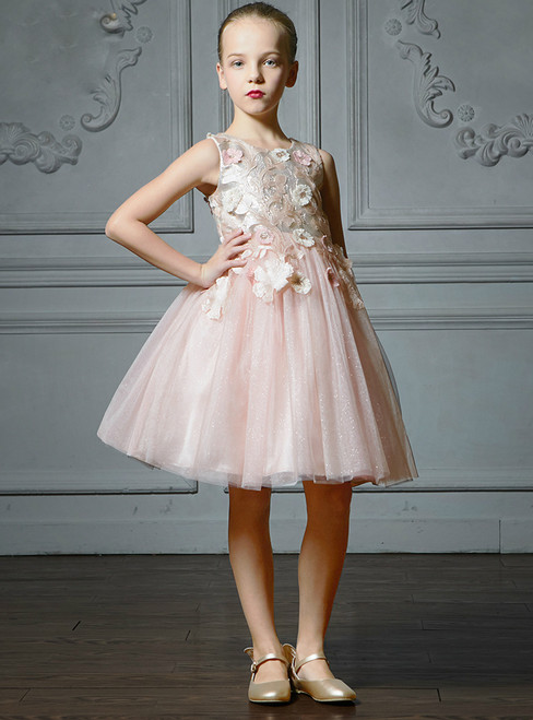 In Stock:Ship in 48 Hours Pink Tulle Appliques Knee Length Flower Girl Dress