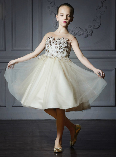 In Stock:Ship in 48 Hours Light Champagne Tulle Appliques Girl Dress