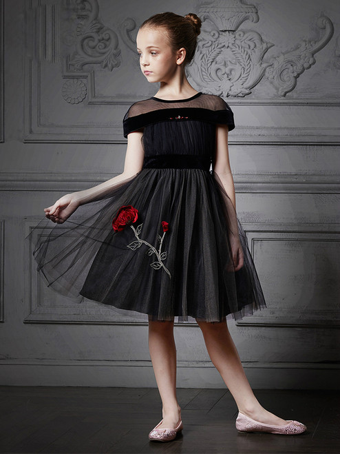 In Stock:Ship in 48 Hours Black Tulle Appliques Cap Sleeve Girl Dress