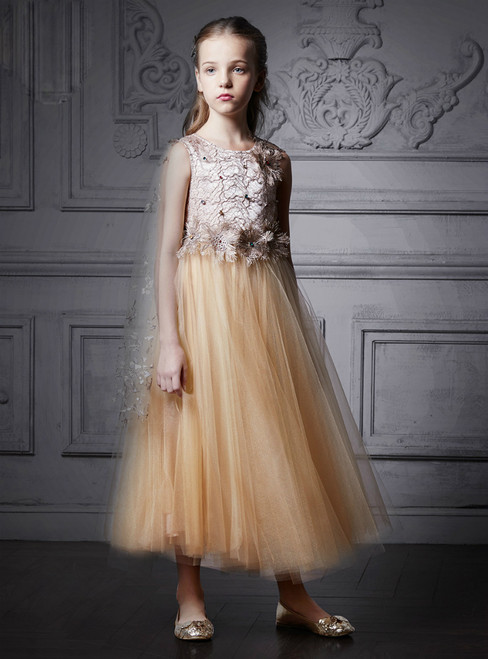 In Stock:Ship in 48 Hours Champagne Tulle Appliques Ankle Girl Dress