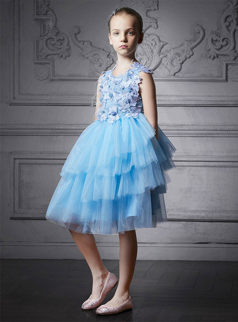 In Stock:Ship in 48 Hours Blue Tulle Appliques Knee Length Girl Dress