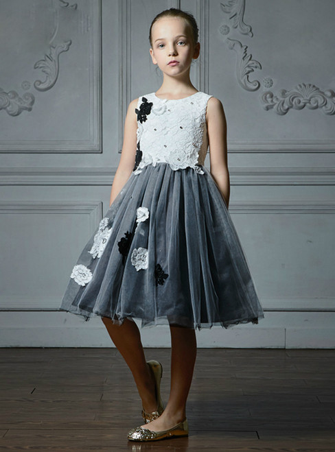 In Stock:Ship in 48 Hours With Gray Tulle Appliques Girl Dress