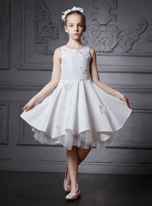 In Stock:Ship in 48 Hours White Lace Knee Length Butterfly Girl Dress