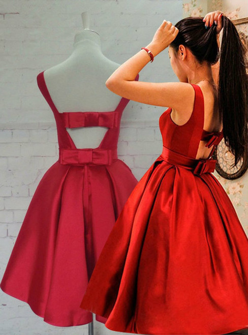 Lovely Red Short Homecoming Dresses Jewel Backless