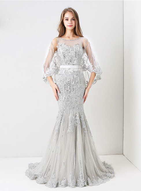 Silver Fomral Crystal Beaded Transparent Cape Lace Mermaid Prom Dress