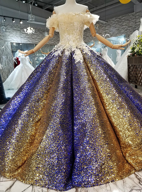 Ball Gown Blue Gold Sequins Off The Shoulder Appliques Wedding Dress