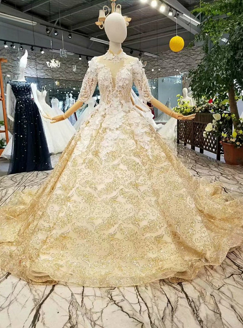 Gold Ball Gown High Neck Short Sleeve Sequins Appliques Wedding Dress