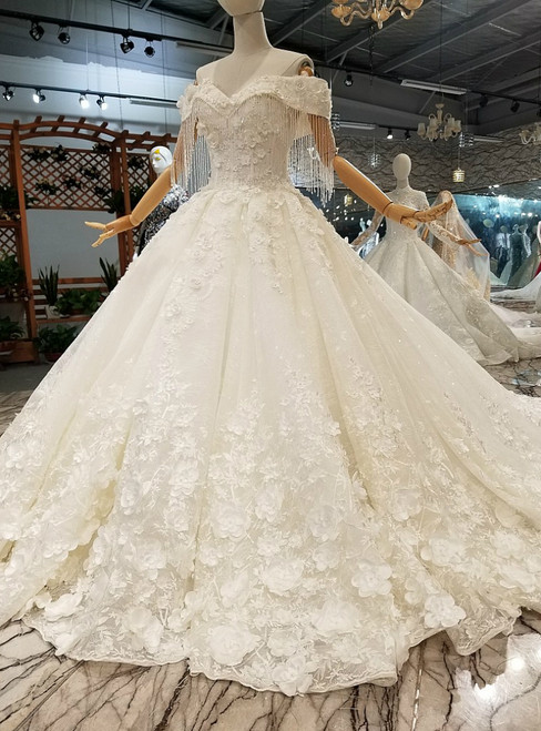 White Ball Gown Off The Shoulder Appliques Beading Train Wedding Dress