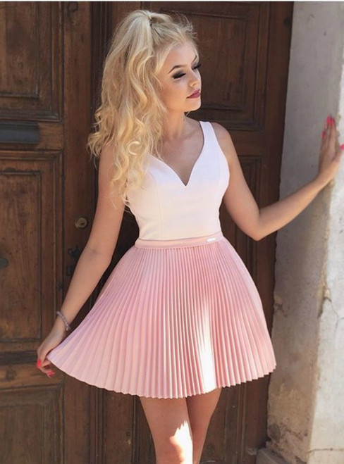 A-Line V-Neck Pleated Pink Homecoming Dress With Appliques Beading