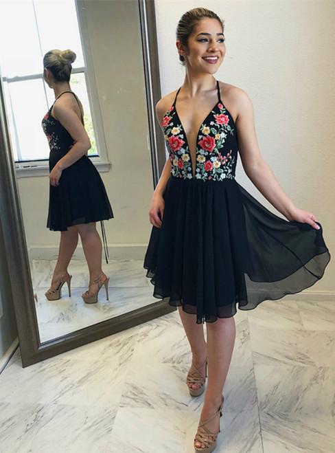 Black Chiffon Halter Neckline Short A-line Homecoming Dresses