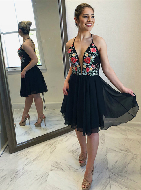 Black Chiffon Halter Neckline Short A-line Homecoming Dresses