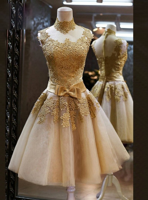 Elegant Gold Applique Homecoming Dresses High Neck Knee Length A Line