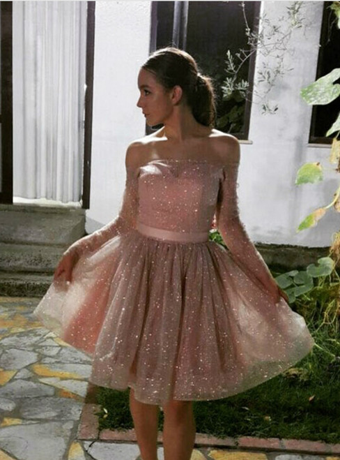 A-line Pink Tulle Sequins Off The Shoulder Long Sleeve Homecoming Dress