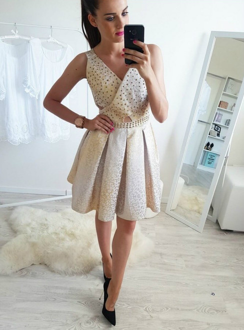 A-Line V-Neck Above-Knee Light Champagne Homecoming Dress Beading
