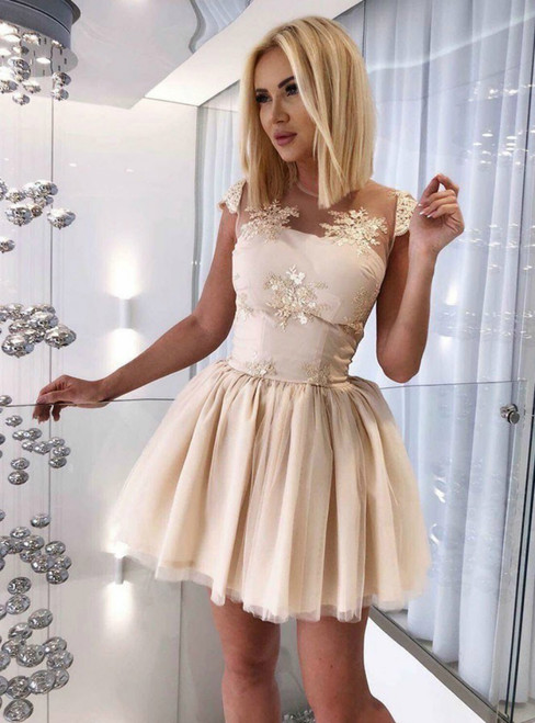 A Line Open Back Short Champagne Appliques Homecoming Dress