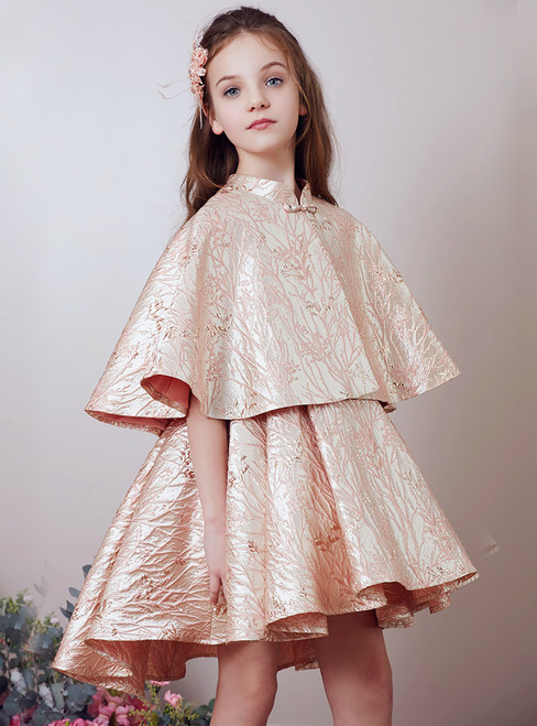 In Stock:Ship in 48 Hours Pink Gold Cloak Two Piece Knee Length Girl Dress
