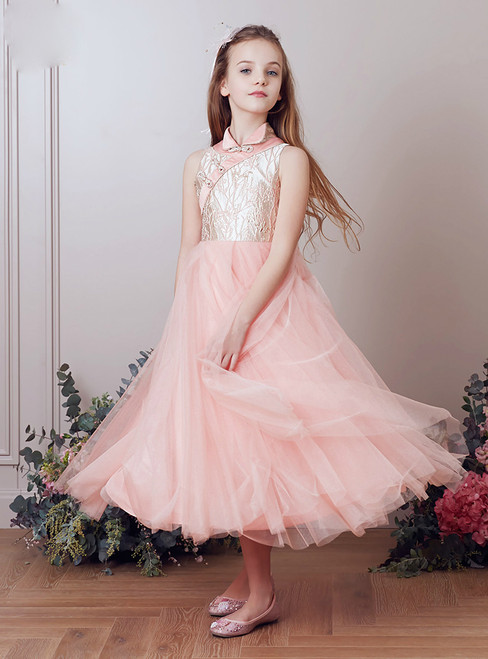 In Stock:Ship in 48 Hours Pink High Neck Tulle Tea Length Girl Dress