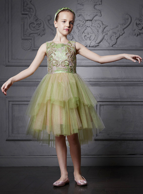 In Stock:Ship in 48 Hours Green Tulle Appliques With Coat Girl Dress
