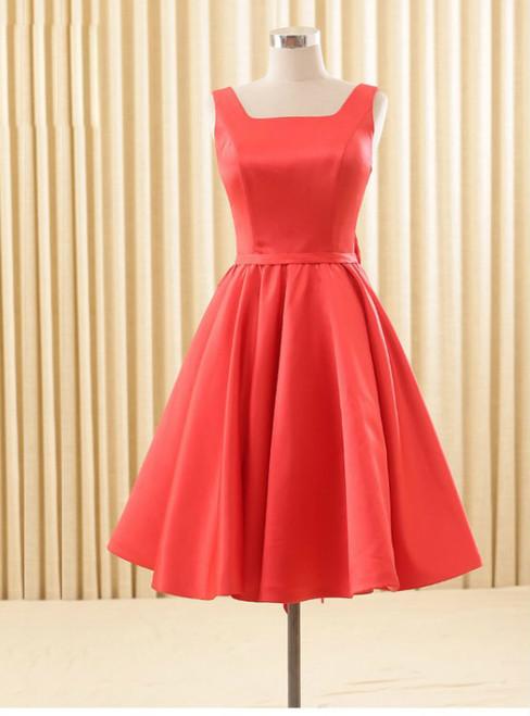Elegant Satin Red School Homecoming Dresses Backless Bowknot Knee Length