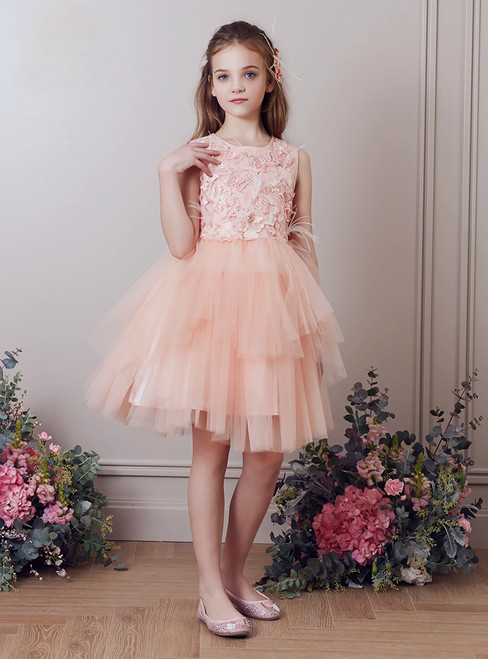 In Stock:Ship in 48 Hours Pink Tulle Appliques Short Flower Girl Dress