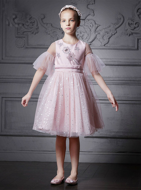 In Stock:Ship in 48 Hours Pink Tulle Short Sleeve Appliques Girl Dress