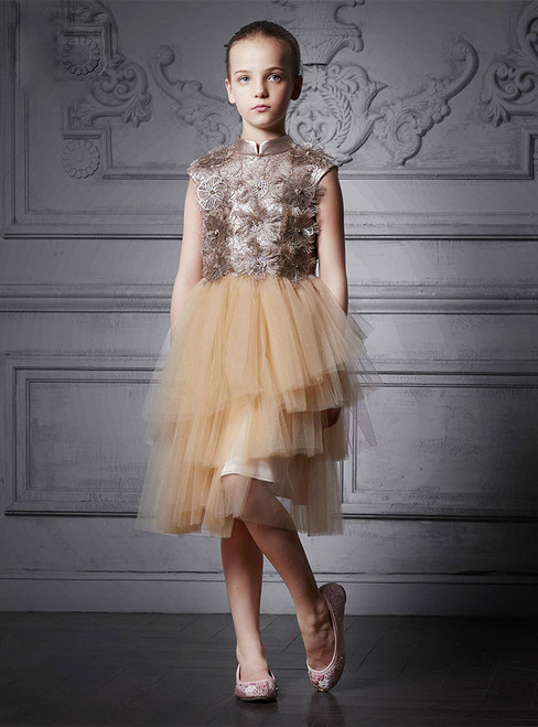 In Stock:Ship in 48 Hours Champagne Tulle High Neck Girl Dress