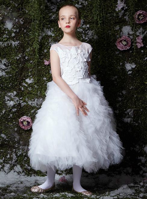 In Stock:Ship in 48 Hours White Tulle Appliques Tea Length Girl Dress