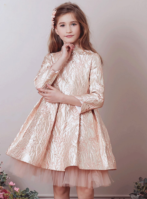 In Stock:Ship in 48 Hours Pink Long Sleeve High Neck Girl Dress