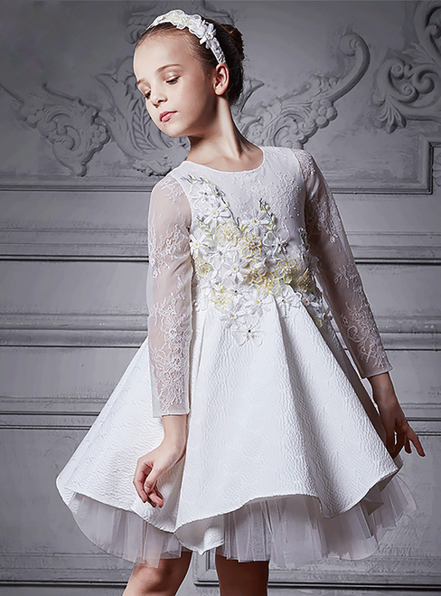 In Stock:Ship in 48 Hours White Tulle Long Sleeve Appliques Girl Dress