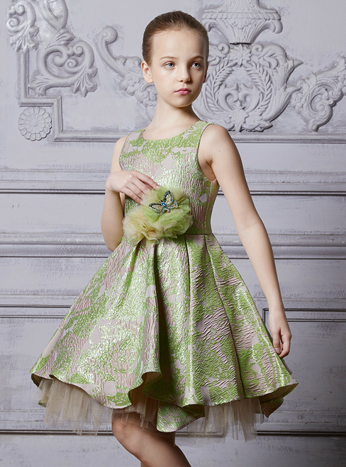 In Stock:Ship in 48 Hours Green Tulle Knee Length Girl Dress