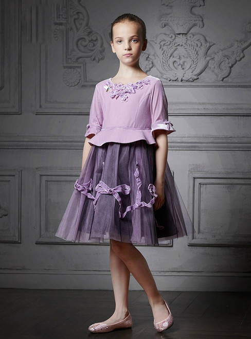 In Stock:Ship in 48 Hours Purple Tulle Short Sleeve Appliques Girl Dress