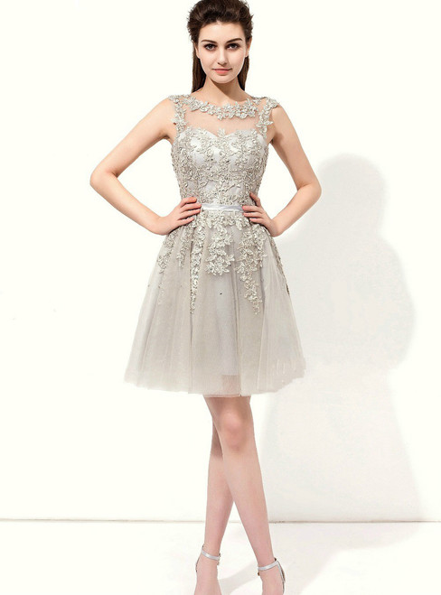 Gray Tulle Appliques Backless Sleeveless Knee Length Bridesmaid Dress
