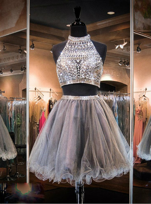 Gray A Line Homecoming Dresses Two Pieces High Neck