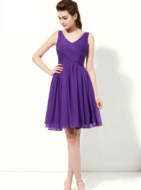 Purple Chiffon V-neck Backless With Pleats Knee Length Bridesmaid Dress