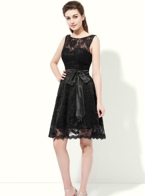 A-Line Black Lace Backless With Sash Knee Length Bridesmaid Dress