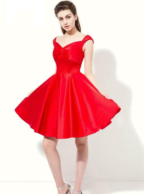 A-line Red Straps Satin Knee Length Bridesmaid Dress