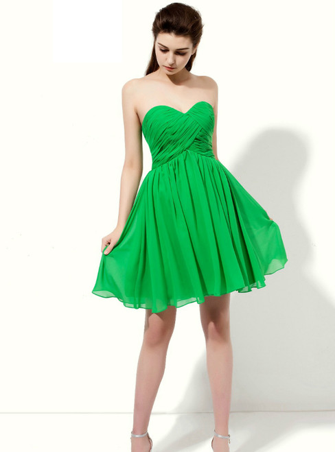 Green Sweetheart Neck Backless With Pleats Bridesmaid Dress