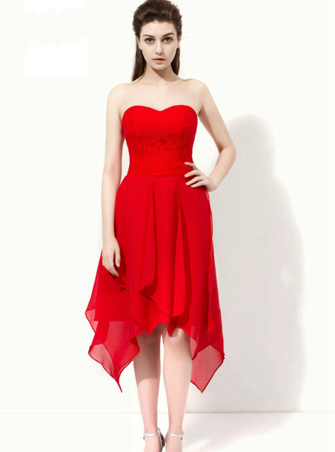 Red Sweetheart Chiffon Lace Tea Length Bridesmaid Dress