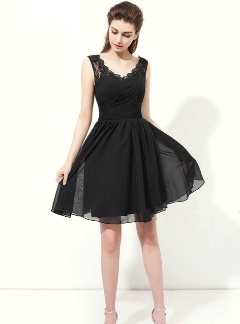 Black Chiffon Lace V-neck Backless Knee Length Bridesmaid Dress