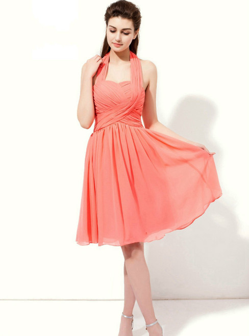 Watermelon Chiffon Halter Backless Pleats Knee Length Bridesmaid Dress