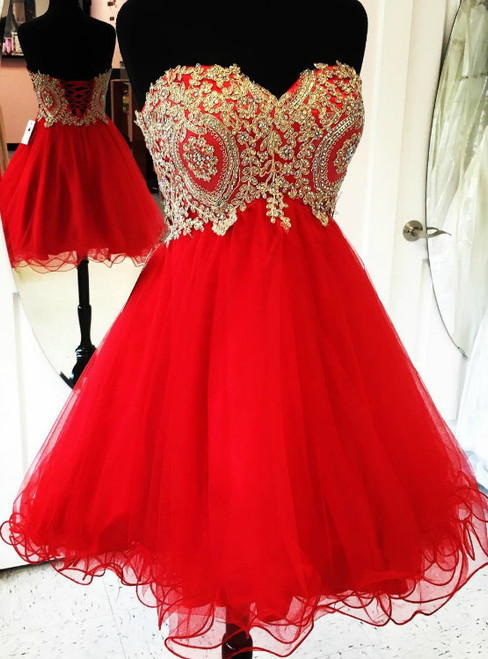 Beautiful Red School Homecoming Dresses Sweetheart Gold Applique