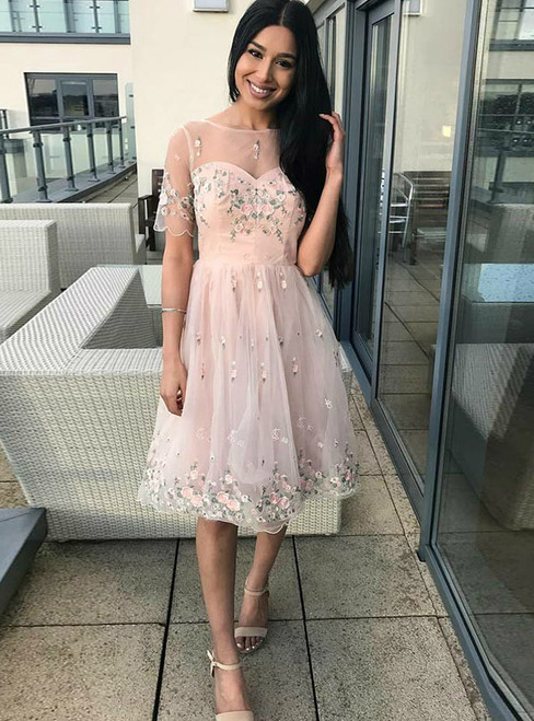 A-Line Pink Tulle Appliques Short Sleeve Homecoming Dress