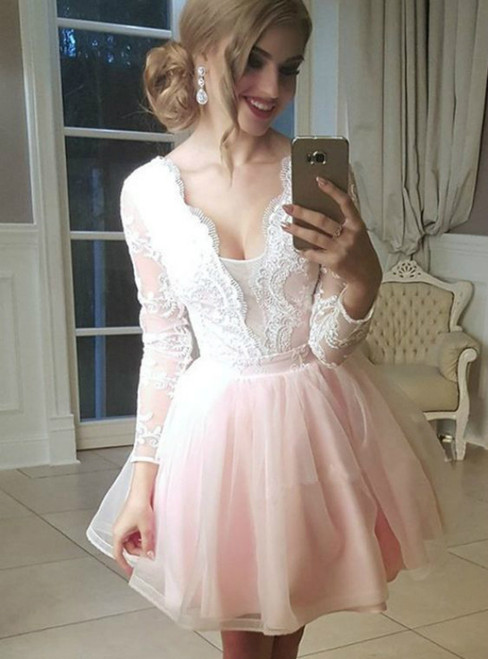 Tulle Plunge Neck Lace Appliques Long Sleeves Homecoming Dresses