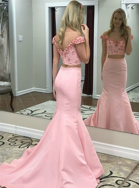 Two Piece Off the Shoulder Pink Satin Appliques Beading Prom Dress