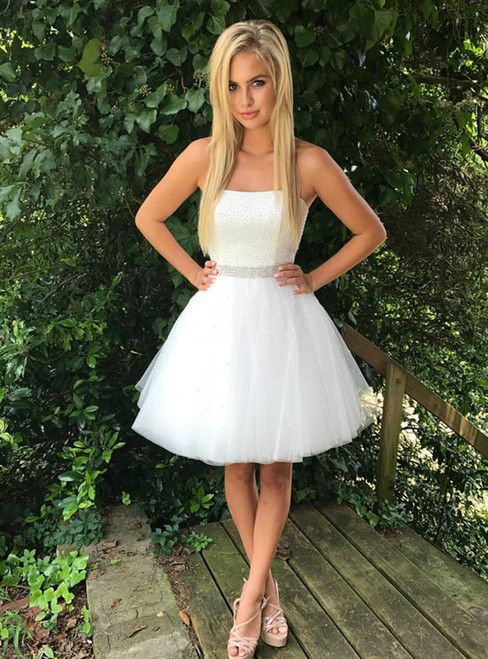 White Strapless Tulle With Beading Knee Length Homecoming Dress