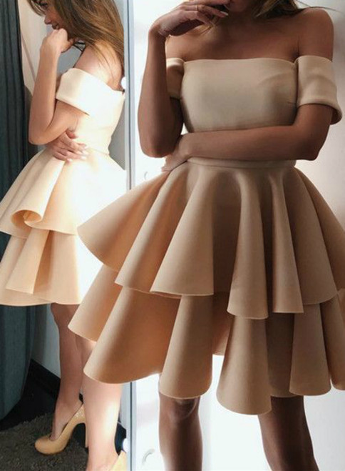 Cute Champagne A-line Off The Shoulder Ruffles Homecoming Dresses